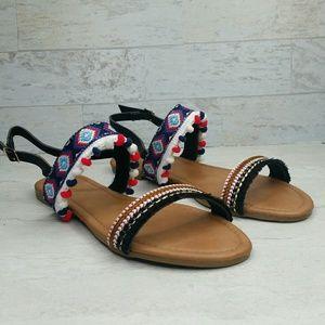 Mini Pom-Pom Embroidered Slingback Flat Sandal